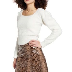 Astr Fuzzy Crop Top Ruffle Shoulder Sweater
